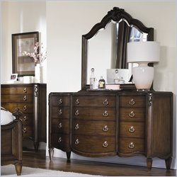 American Drew Jessica McClintock Couture Dresser and Mirror Set