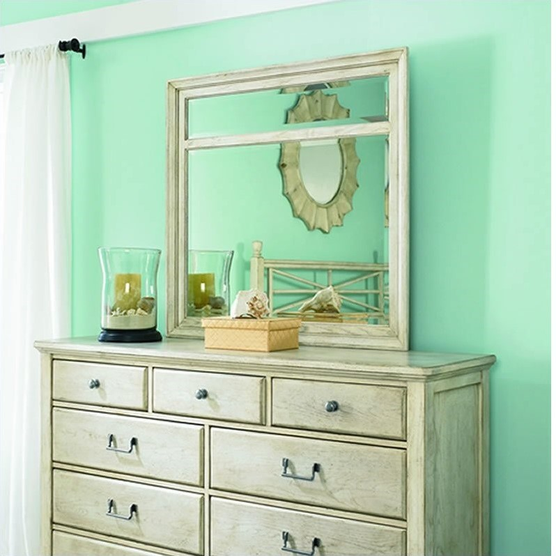 American Drew Americana Home Mirror in Weathered White