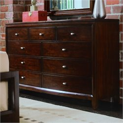 American Drew Tribecca 9 Drawer Double Dresser in Root Beer Finish