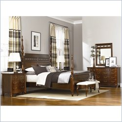 American Drew Cherry Grove 6 Piece Bedroom Set in Mid Tone Brown