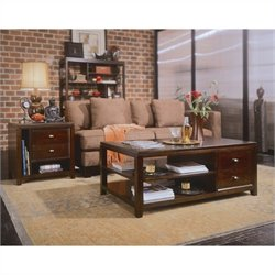 American Drew Tribecca 2 Piece Coffee Table Set in Root Beer