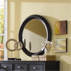 American Drew Camden Black Round Mirror with Supports