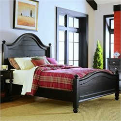 American Drew Camden Black Poster Panel Bed in Distressed Black Finish - Queen