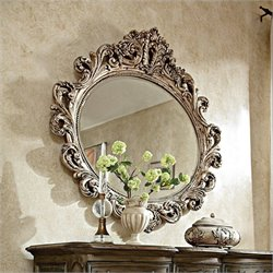 American Drew Jessica McClintock The Boutique Oval Decorative Mirror in Silver Veil