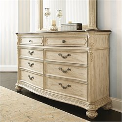 American Drew The Boutique 8 Drawer Double Dresser in White Veil