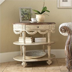 American Drew Jessica McClintock The Boutique Oval Tiered Accent Table in White Veil