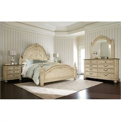 American Drew The Boutique 4 Piece Mansion Bedroom Set in White Veil
