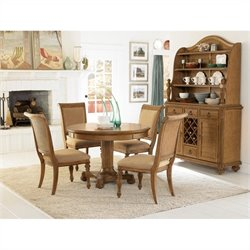 American Drew Grand Isle 5 Piece Round Dining Set in Amber