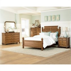 American Drew Grand Isle 4 Piece Bedroom Set in Amber