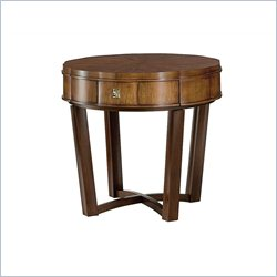 American Drew Miramar Round End Table in Natural Two Tone