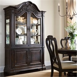 American Drew Manchester Court Wood Curio China Cabinet in Brown