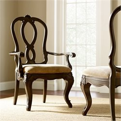 American Drew Casalone Wood Back Arm Chair in Cafe