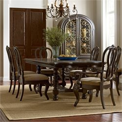 American Drew Casalone 8 Piece Wood Dining Set in Cafe