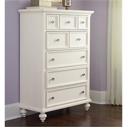 American Drew Lynn Haven 5 Drawer Wood Chest in White