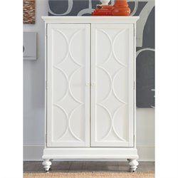 American Drew Lynn Haven 2 Door Wood Bar Cabinet in White