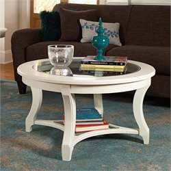 American Drew Lynn Haven Round Glass Coffee Table in White
