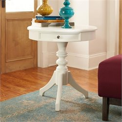 American Drew Lynn Haven 1 Drawer Wood Accent Table in White