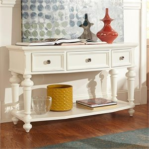 American Drew Lynn Haven 3 Drawer Wood Console Table in White