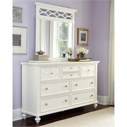 American Drew Lynn Haven 2 Piece Dresser Set in White
