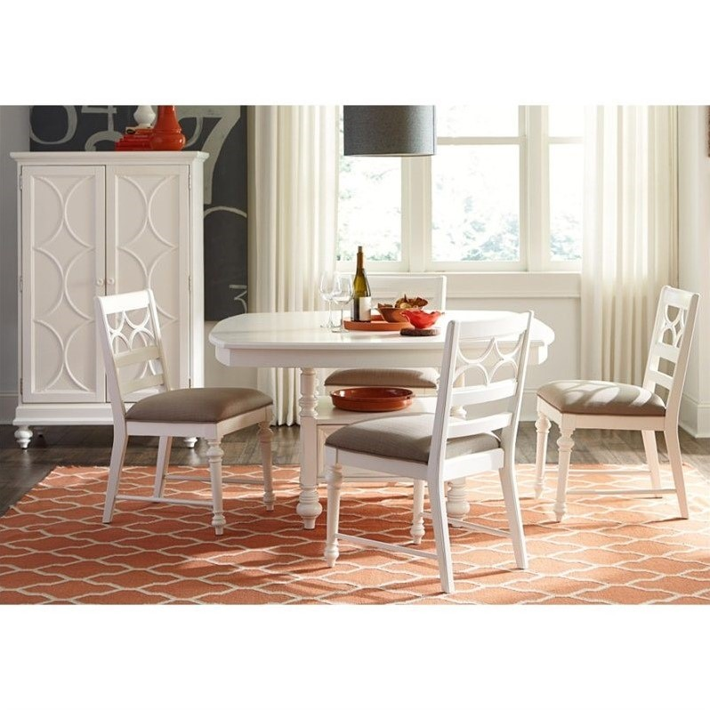 American Drew Lynn Haven 6 Piece Wood Storage Dining Set in White ...