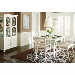 American Drew Lynn Haven 7 Piece Wood Dining Set in White