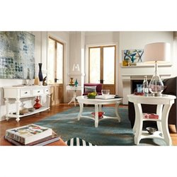American Drew Lynn Haven 4 Piece Wood Coffee Table Set in White