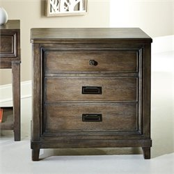 American Drew Park Studio 3 Drawer Wood Nightstand in Taupe