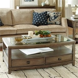 American Drew Park Studio Glass Coffee Table in Taupe