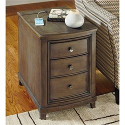 American Drew Park Studio 3 Drawer Wood Chairside Table in Taupe