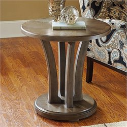 American Drew Park Studio Round Wood Lamp Table in Taupe