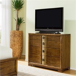 American Drew Grove Point 4 Drawer Wood Media Chest in Warm Khaki