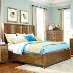 American Drew Grove Point Wood Panel Bed in Warm Khaki