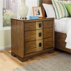 American Drew Grove Point 3 Drawer Wood Nightstand in Warm Khaki