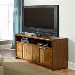 American Drew Grove Point 4 Door Wood TV Stand in Warm Khaki
