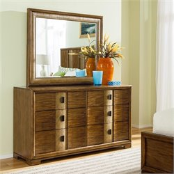 American Drew Grove Point 2 Piece Wood Dresser Set in Warm Khaki