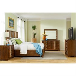 American Drew Grove Point 5 Piece Media Wood Bedroom Set in Warm Khaki