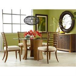 American Drew Grove Point 7 Piece Round Dining Set in Warm Khaki