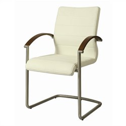 Pastel Furniture Akasha Arm Dining Chair in Ivory/Walnut Veneer