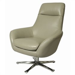 Pastel Furniture Ellejoyce Club Chair in Top Grain Light Gray Leather
