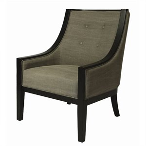 Pastel Furniture Eurowayne Upholstered Tufted Swayback Arm Chair in Gray