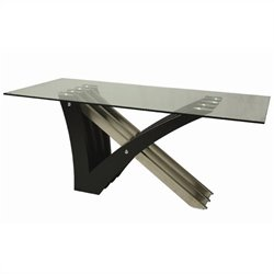Pastel Furniture Akasha Glass Top Dining Table in Steel/Wenge