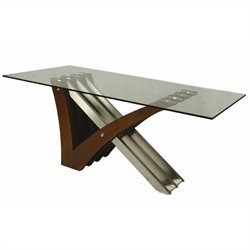 Pastel Furniture Akasha Glass Top Dining Table in Steel/Walnut