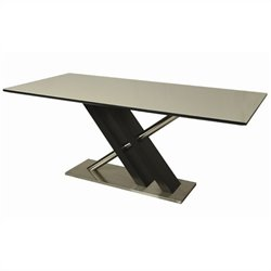 Pastel Furniture Charlize White Glass Top Dining Table in Wenge