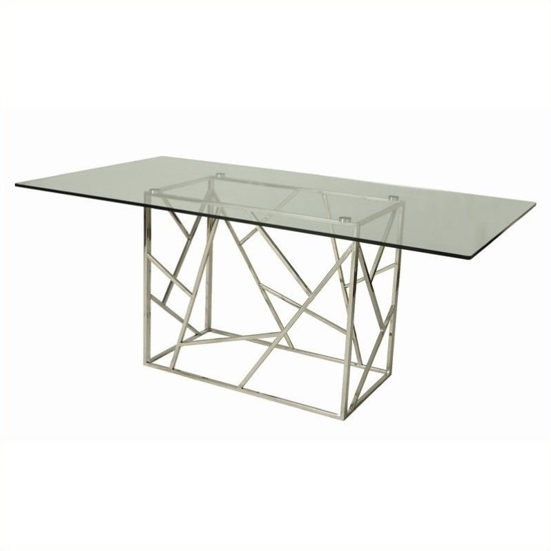 Pastel furniture firouzeh rectangular glass top dining for Steel dining table design