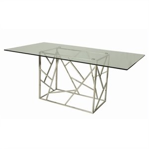 Pastel Furniture Firouzeh Rectangular Glass Top Dining Table in Chrome