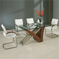 Pastel Furniture Akasha 5 Piece Dining Set in Ivory/Walnut