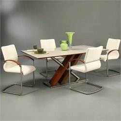 Pastel Furniture Charlize 5 Pc Dining Set w/ Akasha Chairs in Walnut