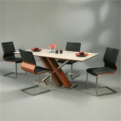 Pastel Furniture Charlize 5 Piece Dining Set in Black/Walnut