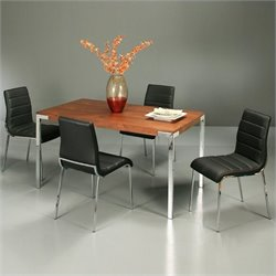 Pastel Furniture Fort James 5 Piece Dinette in Walnut/Black