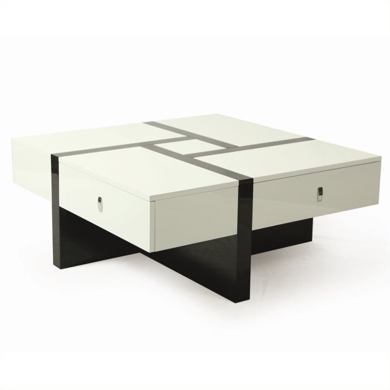 Pastel Furniture Jumeirah High Gloss Coffee Table in Black and White